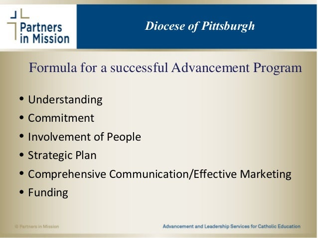 Formula for a successful Advancement Program • Understanding • Commitment • Involvement of People • Strategic Plan • Compr...
