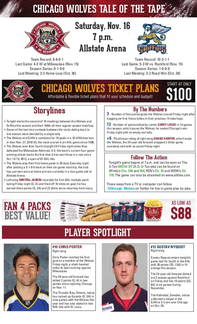 CHICAGO WOLVES TALE OF THE TAPE Saturday, Nov. 16 7 p.m. Allstate Arena Team Record: 10-3-1-1 Last Game: 5-3 W vs. Rockfor...