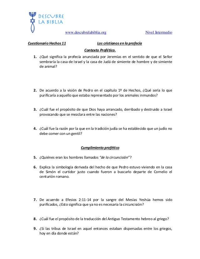 11 Cuestionario Sin Respuestas De Hechos Capitulo 11 Los Cristian