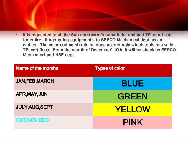 Monthly Safety Inspection Color Codes
