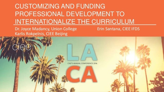 CUSTOMIZING AND FUNDING PROFESSIONAL DEVELOPMENT TO INTERNATIONALIZE THE CURRICULUM Dr. Joyce Madancy, Union College Erin ...