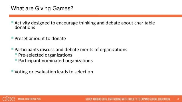 Using Giving Games to Develop International and Intercultural Critica…