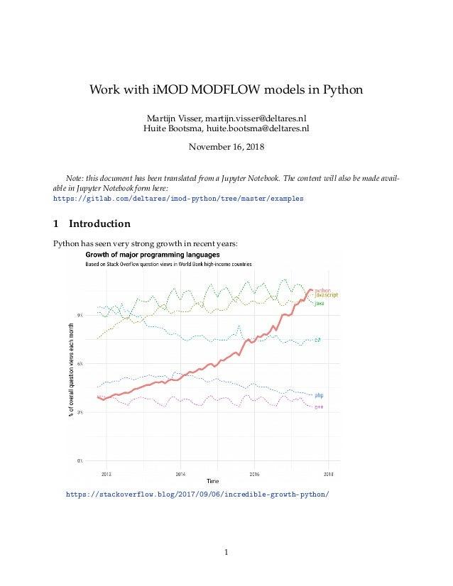 Work with iMOD MODFLOW models in Python Martijn Visser, martijn.visser@deltares.nl Huite Bootsma, huite.bootsma@deltares.n...