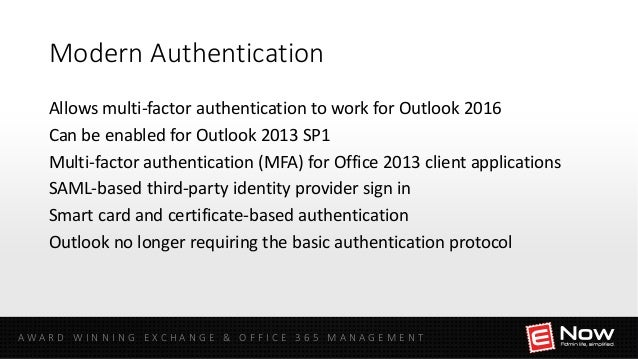 Identity and Authentication Management for Office 365