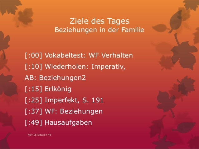 Ziele des Tages Beziehungen in der Familie [:00] Vokabeltest: WF Verhalten [:10] Wiederholen: Imperativ, AB: Beziehungen2 ...