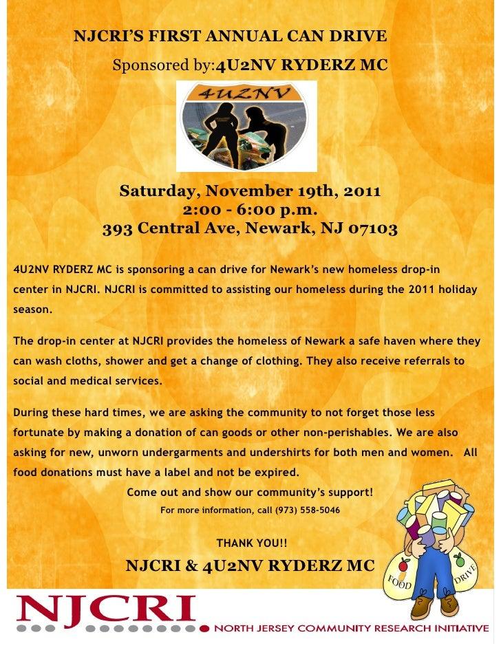 NJCRI'S FIRST ANNUAL CAN DRIVE                  Sponsored by:4U2NV RYDERZ MC                  Saturday, November 19th, 201...