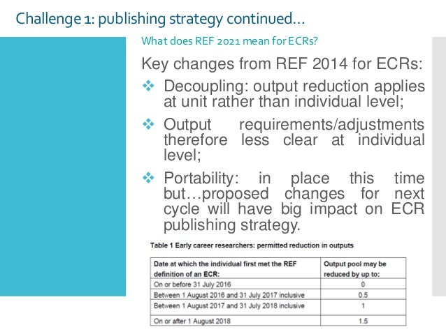 Challenge 1: publishing strategy continued… Key changes from REF 2014 for ECRs:  Decoupling: output reduction applies at ...