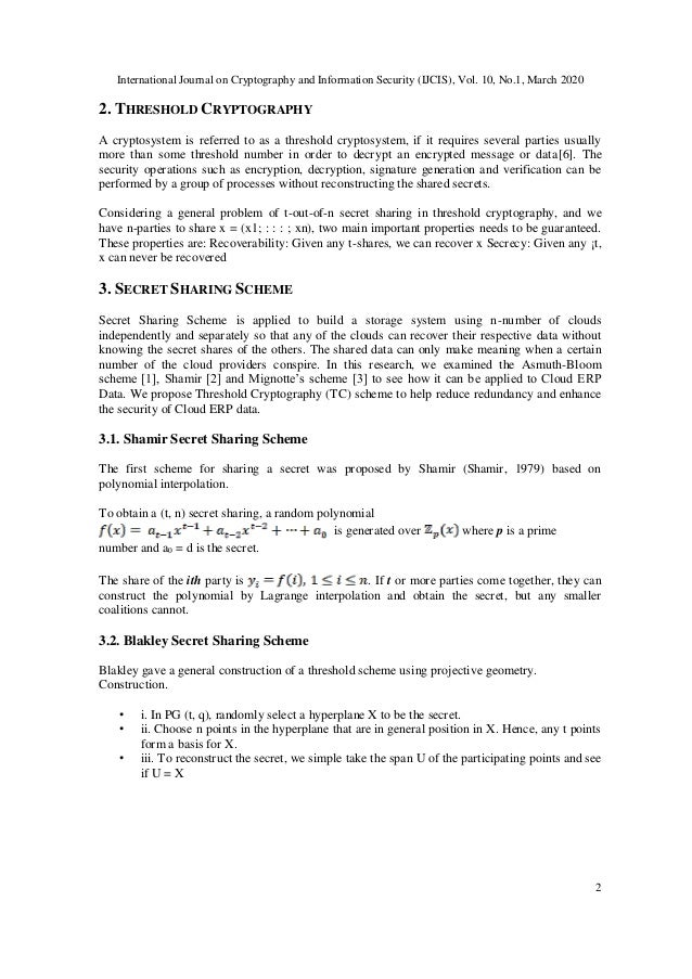 International Journal on Cryptography and Information Security (IJCIS), Vol. 10, No.1, March 2020 2 2. THRESHOLD CRYPTOGRA...