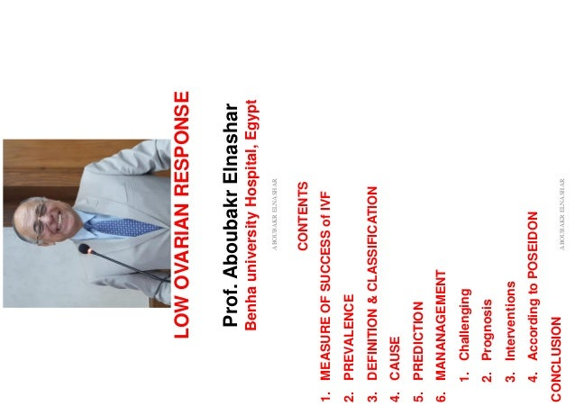 LOWOVARIANRESPONSE Prof.AboubakrElnashar BenhauniversityHospital,Egypt ABOUBAKRELNASHAR CONTENTS 1.MEASUREOFSUCCESSofIVF 2...