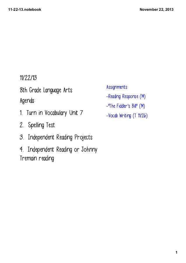 112213.notebook  November22,2013  11/22/13 8th Grade Language Arts Agenda:  1. Turn in Vocabulary Unit 7  Assignments:...
