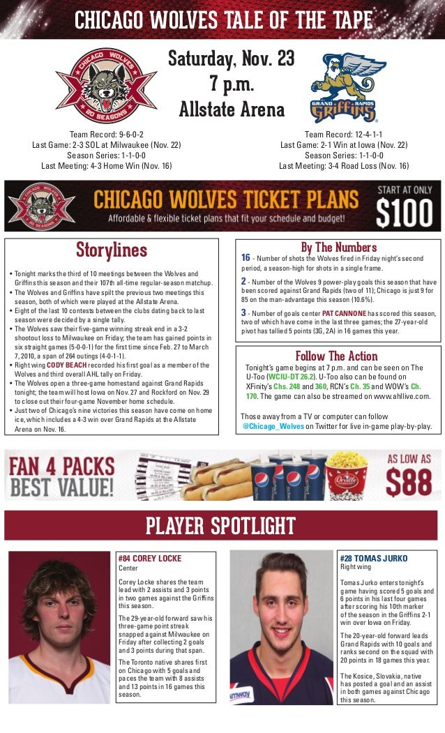 CHICAGO WOLVES TALE OF THE TAPE Saturday, Nov. 23 7 p.m. Allstate Arena Team Record: 12-4-1-1 Last Game: 2-1 Win at Iowa (...