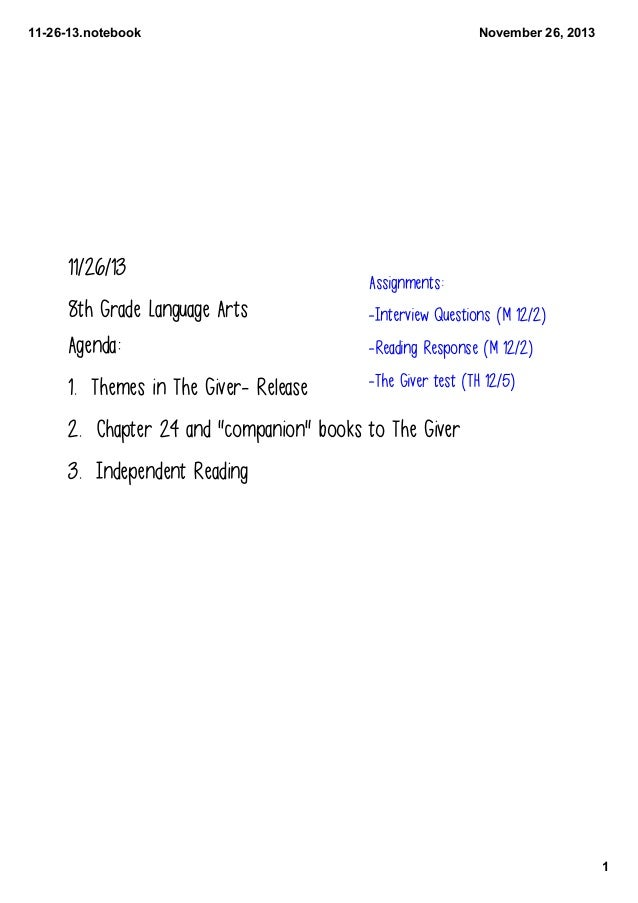 11­26­13.notebook  11/26/13  November 26, 2013  Assignments:  8th Grade Language Arts Agenda:  -Interview Questions (M 12/...