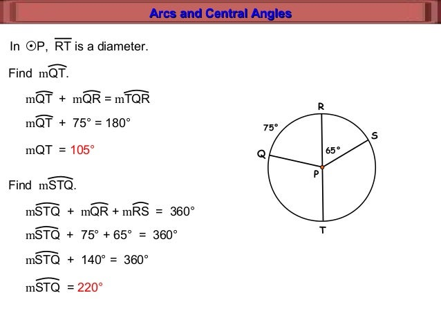 11 2 arcs and central angles lesson