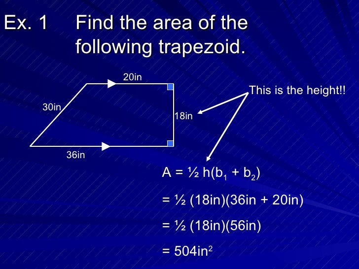112 Areas Of Trapezoids Rhombuses And Kites