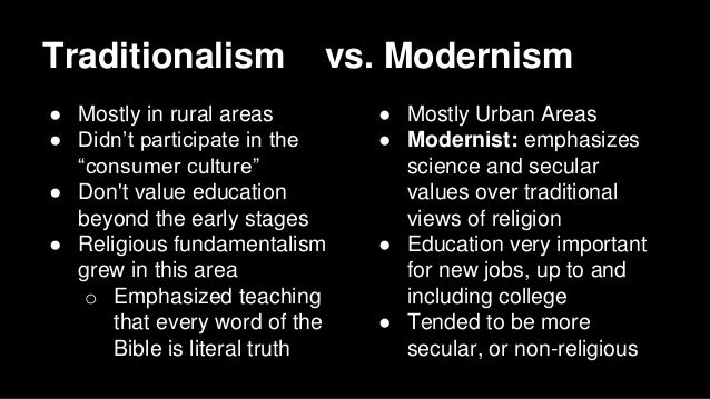 an analysis of the tension between the traditionalists and the modernists in the 1920s