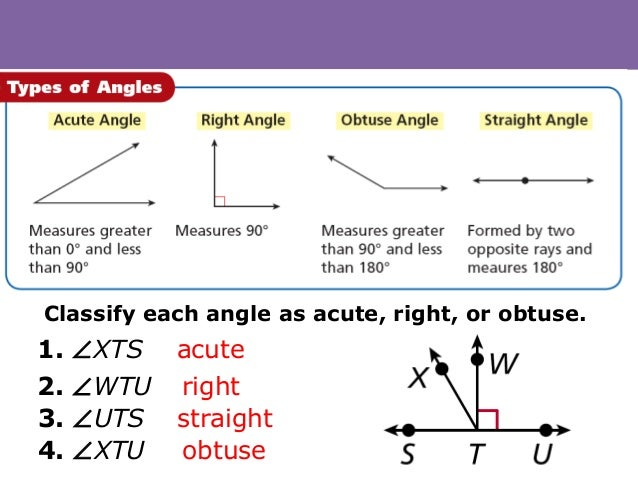 Right Acute And Obtuse Angles : Lines and angles