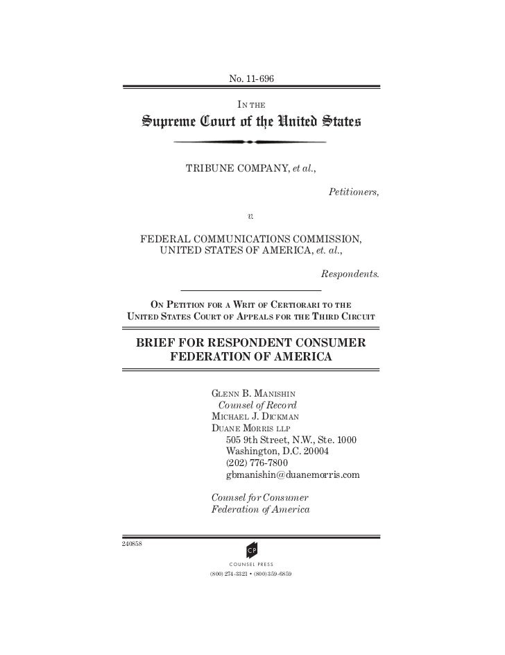 No. 11-696                            IN THE     Supreme Court of the United States             TRIBUNE COMPANY, et al.,  ...