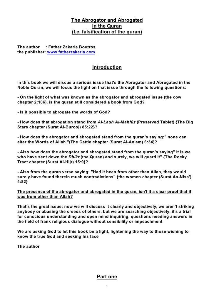 The Abrogator and Abrogated                                       In the Quran                            (I.e. falsificat...
