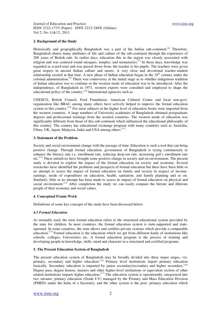 A Comparative Study Between Literate And Illiterate People On Rani   About English Language Essay also Proposal Essay Ideas  Apa Format Sample Paper Essay