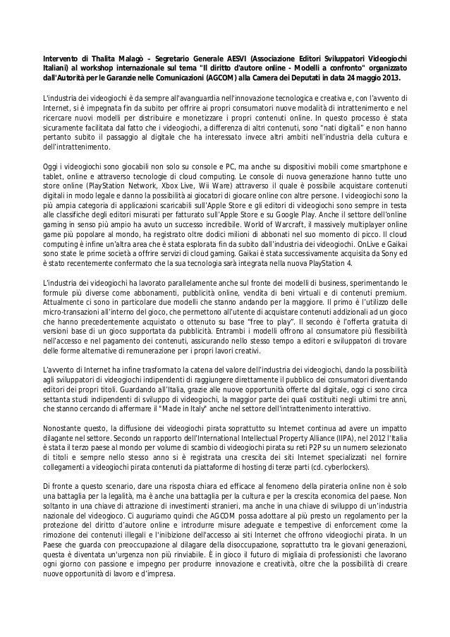 Intervento di Thalita Malagò – Segretario Generale AESVI (Associazione Editori Sviluppatori Videogiochi Italiani) al works...