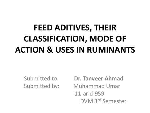 FEED ADITIVES, THEIR  CLASSIFICATION, MODE OFACTION & USES IN RUMINANTS Submitted to:   Dr. Tanveer Ahmad Submitted by:   ...