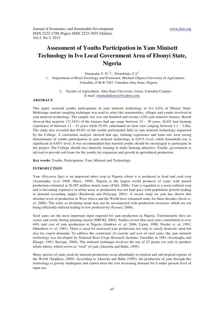 Journal of Economics and Sustainable Development                                            www.iiste.orgISSN 2222-1700 (P...
