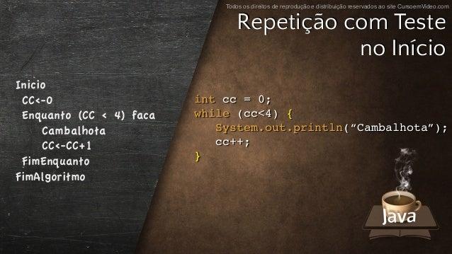 Todos os direitos de reprodução e distribuição reservados ao site CursoemVideo.com int cc = 0; while (cc<4) { System.out.p...