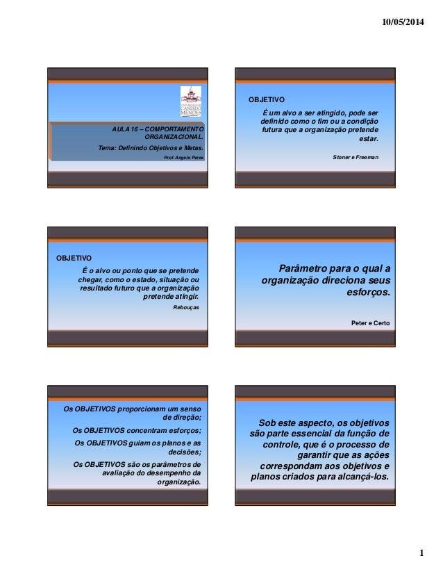 10/05/2014 1 AULA 16 – COMPORTAMENTO ORGANIZACIONAL. Tema: Definindo Objetivos e Metas. Prof. Angelo Peres OBJETIVO É um a...