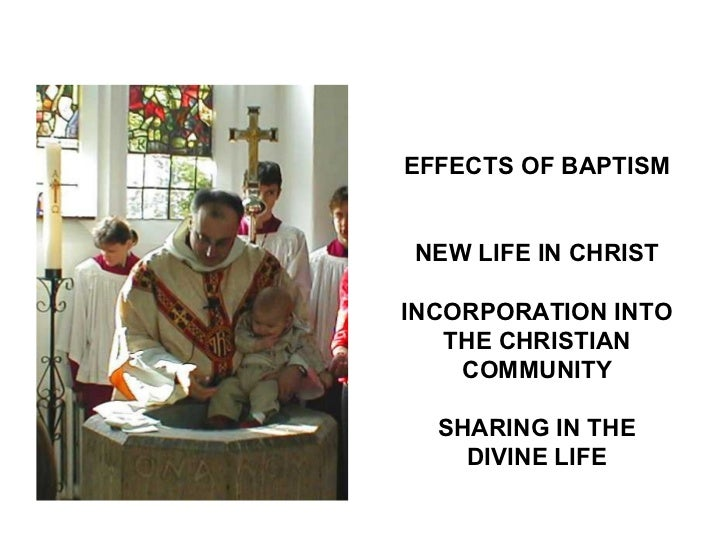EFFECTS OF BAPTISMNEW LIFE IN CHRISTINCORPORATION INTO   THE CHRISTIAN    COMMUNITY  SHARING IN THE    DIVINE LIFE