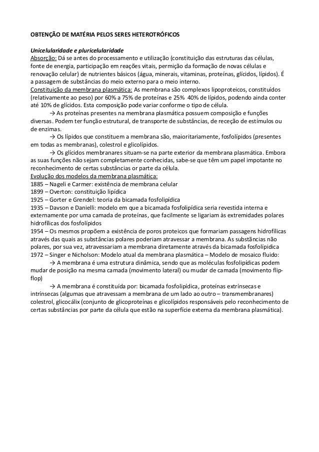 OBTENÇÃO DE MATÉRIA PELOS SERES HETEROTRÓFICOS Unicelularidade e pluricelularidade Absorção: Dá se antes do processamento ...