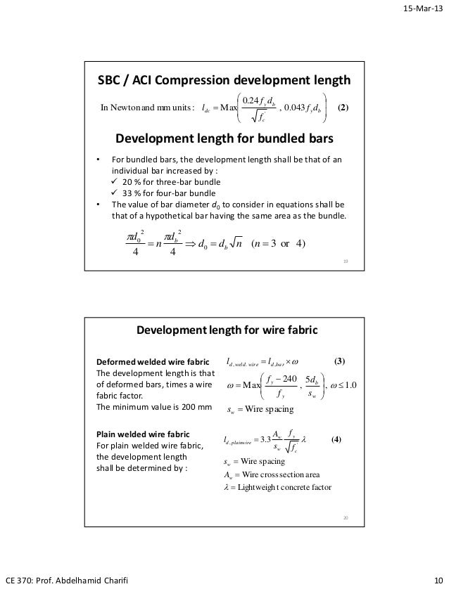 Lec10 Bond and Development Length (Reinforced Concrete Design I & Pro…