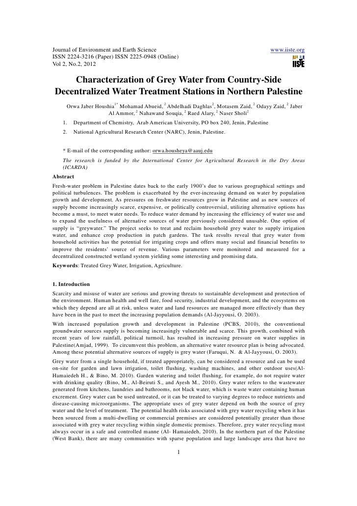 Journal of Environment and Earth Science                                                      www.iiste.orgISSN 2224-3216 ...