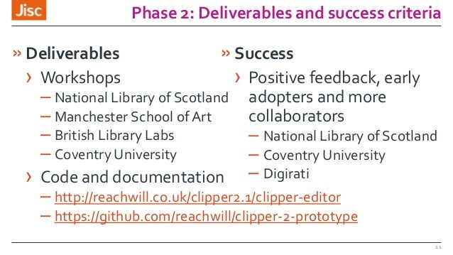 Phase 2: Deliverables and success criteria »Deliverables › Workshops – National Library of Scotland – Manchester School of...