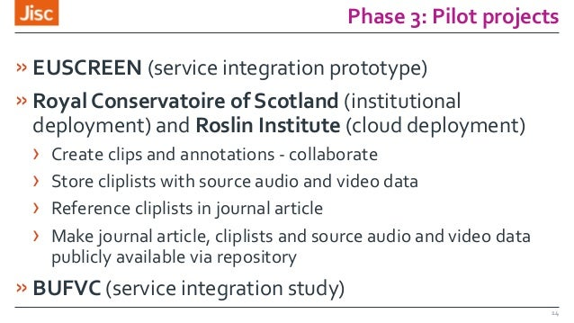 Phase 3: Pilot projects »EUSCREEN (service integration prototype) »Royal Conservatoire of Scotland (institutional deployme...