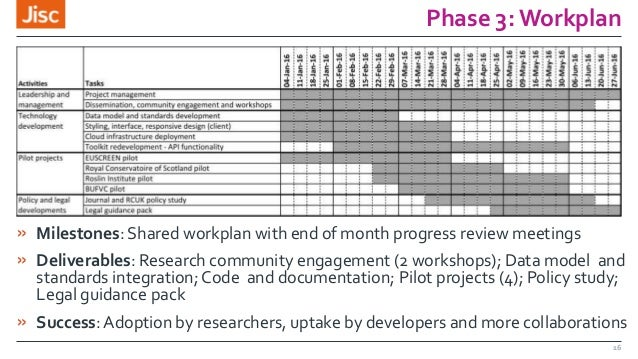 Phase 3: Workplan » Milestones: Shared workplan with end of month progress review meetings » Deliverables: Research commun...