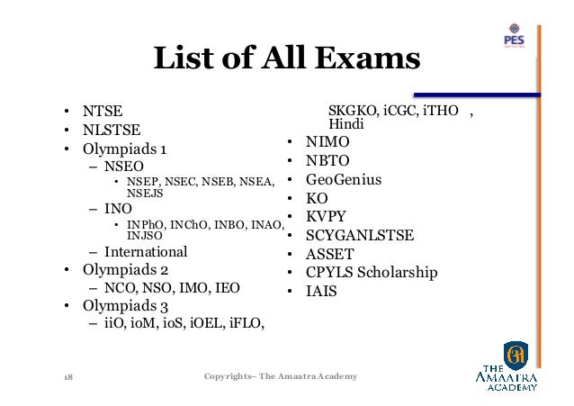 List of all Competitive Exams at School Level