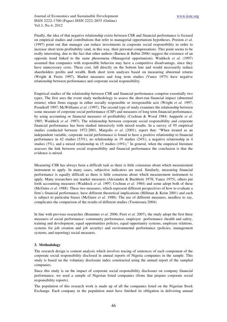 corporate social responsibility on financial performance Impact of corporate social responsibility on the firm's financial corporate social responsibility, financial performance of firm, pakistan, society welfare.