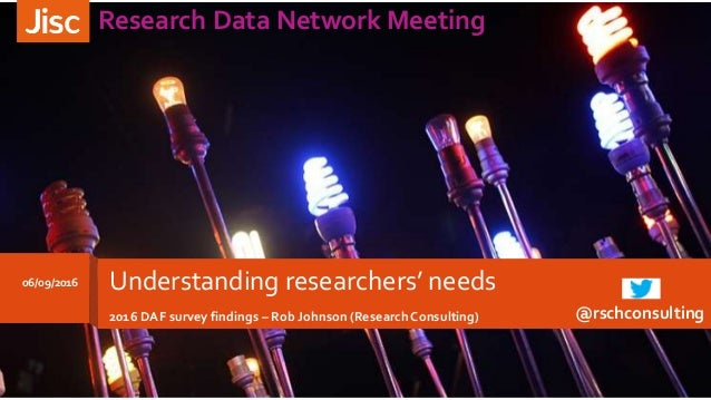 06/09/2016 Research Data Network Meeting Understanding researchers' needs 2016 DAF survey findings – Rob Johnson (Research...