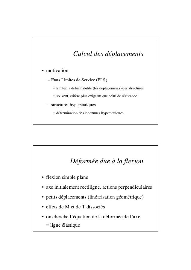 Calcul des déplacements • motivation – États Limites de Service (ELS) • limiter la déformabilité (les déplacements) des st...