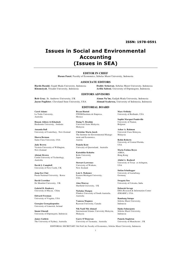ISSN: 1978-0591            Issues in Social and Environmental                        Accounting                      (Issu...