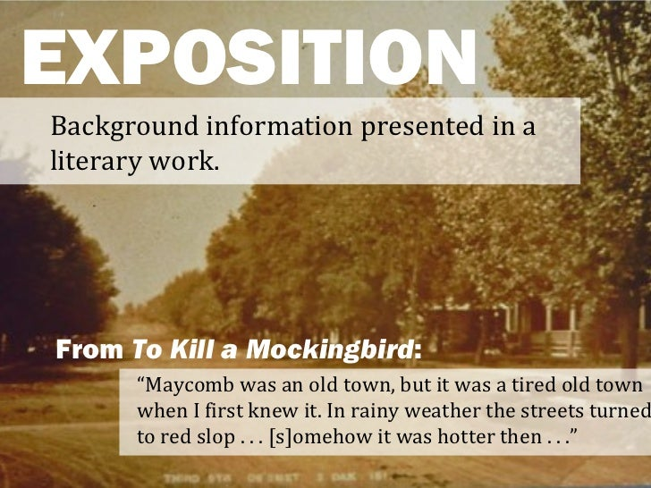 "EXPOSITIONBackground information presented in aliterary work.From To Kill a Mockingbird:      ""Maycomb was an old town, bu..."