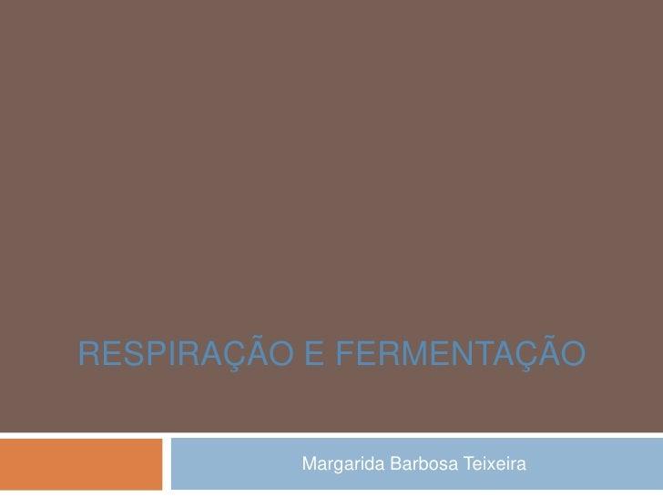 RESPIRAÇÃO E FERMENTAÇÃO          Margarida Barbosa Teixeira