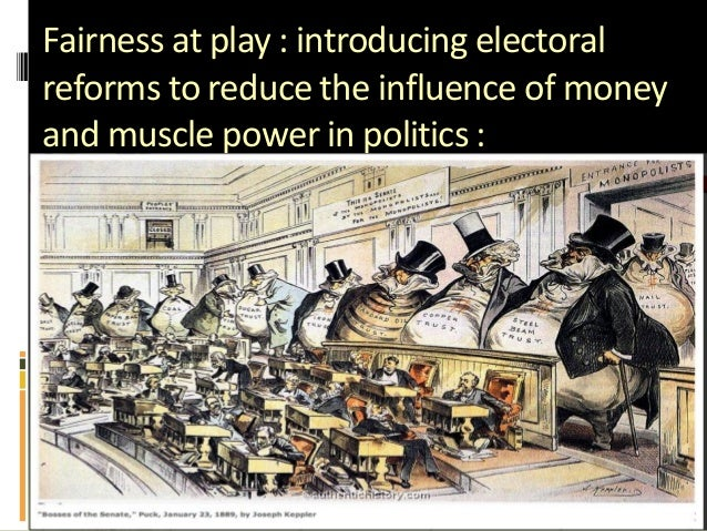 Fairness at play : introducing electoral reforms to reduce the influence of money and muscle power in politics :