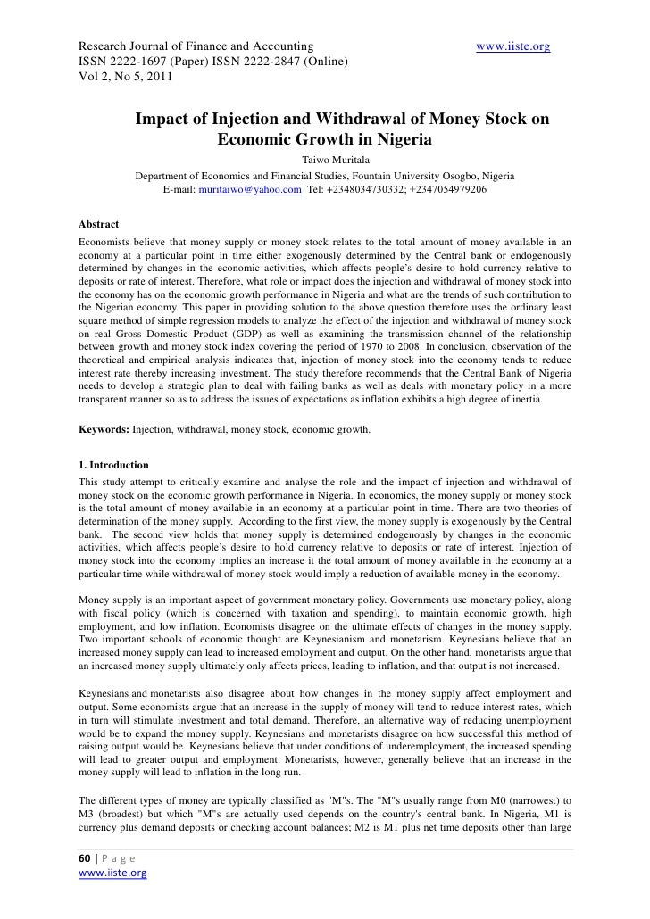 role of monetary policy in nigeria The paper sets out to determine the impact of monetary policy on the nigerian economy during the post-reform period using annual series data (1986 – 2006) trend discussion of some basic macroeconomic indicators on the nigerian economy among others reveal that (a) the central bank of nigeria is instrument independents and not goal independent.