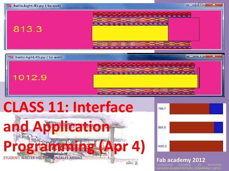 CLASS 11: Interfaceand ApplicationProgramming (Apr 4)STUDENT: WALTER HECTOR GONZALES ARNAO                                ...