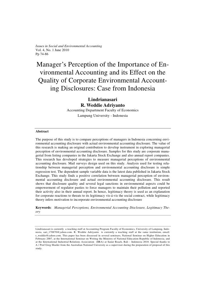 Issues in Social and Environmental AccountingVol. 4, No. 1 June 2010Pp 74-86Manager's Perception of the Importance of En- ...