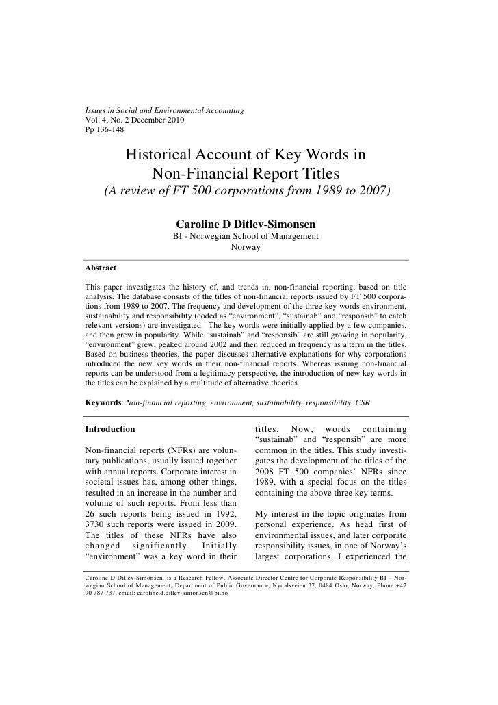 Issues in Social and Environmental AccountingVol. 4, No. 2 December 2010Pp 136-148              Historical Account of Key ...