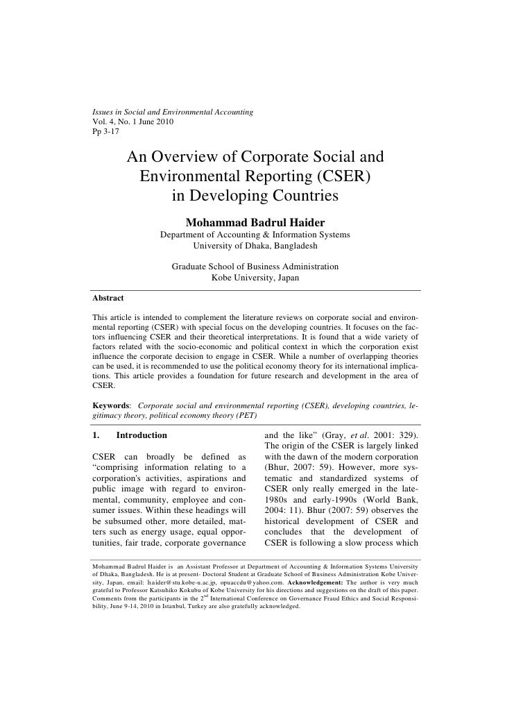 Issues in Social and Environmental AccountingVol. 4, No. 1 June 2010Pp 3-17            An Overview of Corporate Social and...