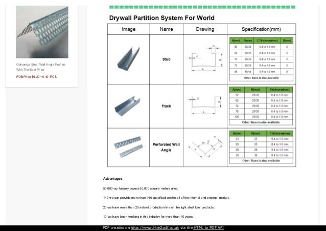 Iso Certificated Drywall Metal Studs Wall Angle With