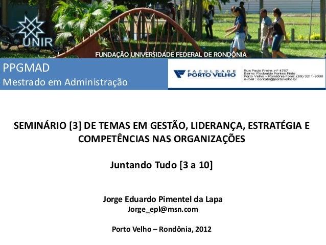 PPGMAD Mestrado em Administração SEMINÁRIO [3] DE TEMAS EM GESTÃO, LIDERANÇA, ESTRATÉGIA E COMPETÊNCIAS NAS ORGANIZAÇÕES J...